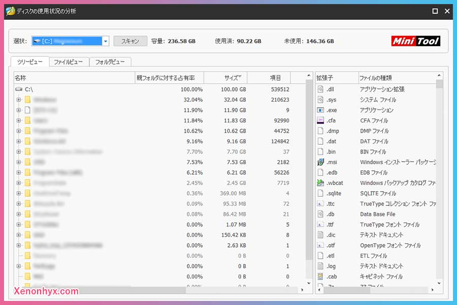 MiniTool Partition Wizard ディスク使用状況分析